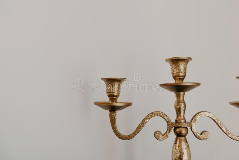 Vintage brass candelabrum close up view. Image stock photo