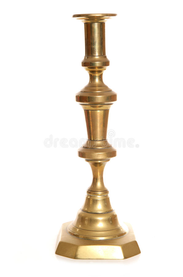 Vintage brass candle stick holder. Cutout royalty free stock images