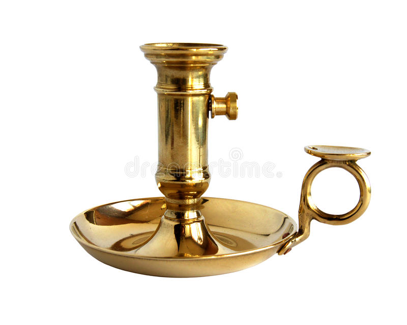Vintage brass candlestick stock photo