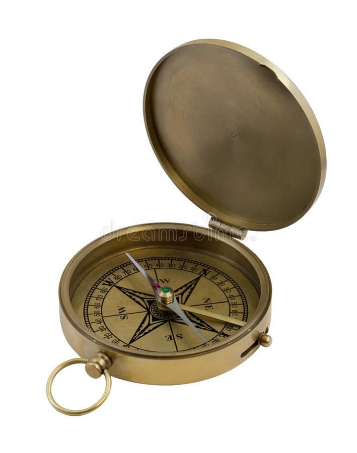 Vintage brass compass stock photos