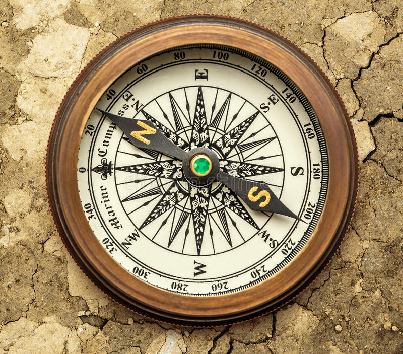 Vintage brass compass royalty free stock photos