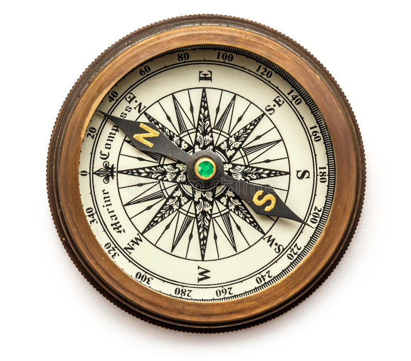 Vintage brass compass stock photography