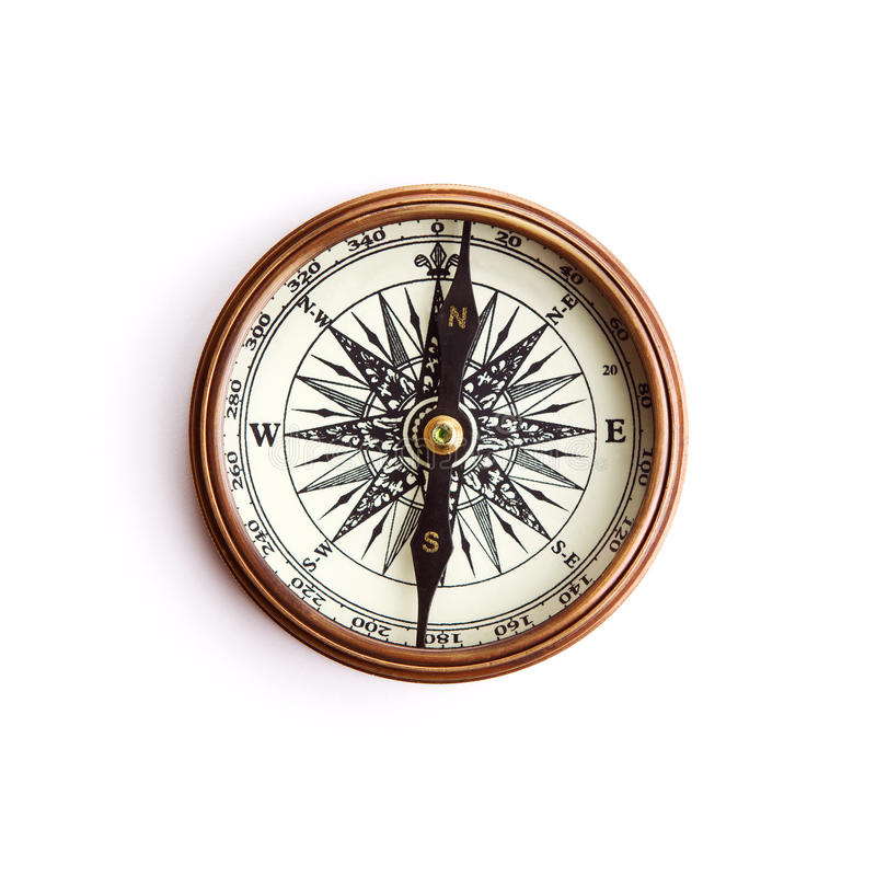Vintage brass compass with clipping path stock photos