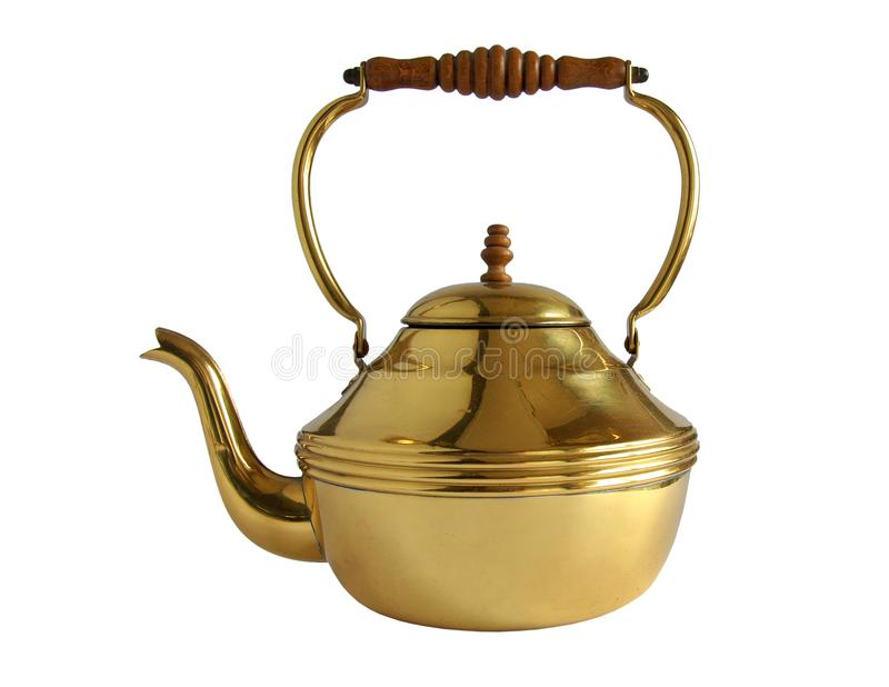 Vintage brass or copper teapot royalty free stock image