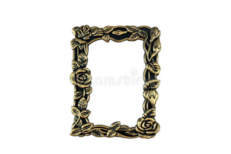 Vintage Brass Frame. Closeup of vintage brass frame on white background. Hand drawn clipping path included for maximum flexibility royalty free stock photos