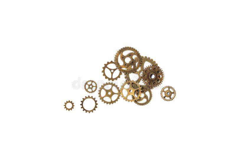 Vintage Brass Gears. Isolated on White. Close up. royalty free stock photos