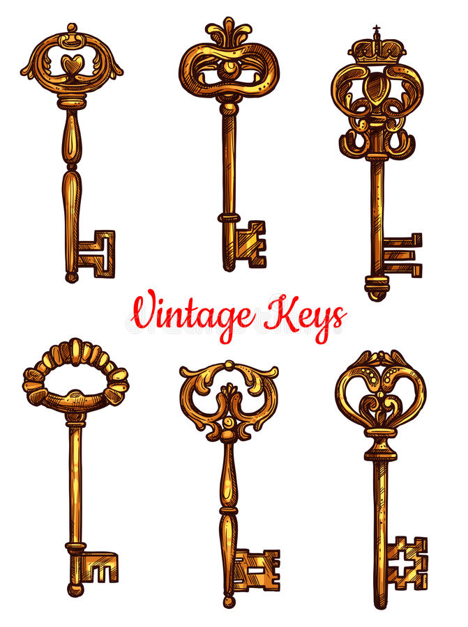 Vintage brass keys vector icons set royalty free illustration