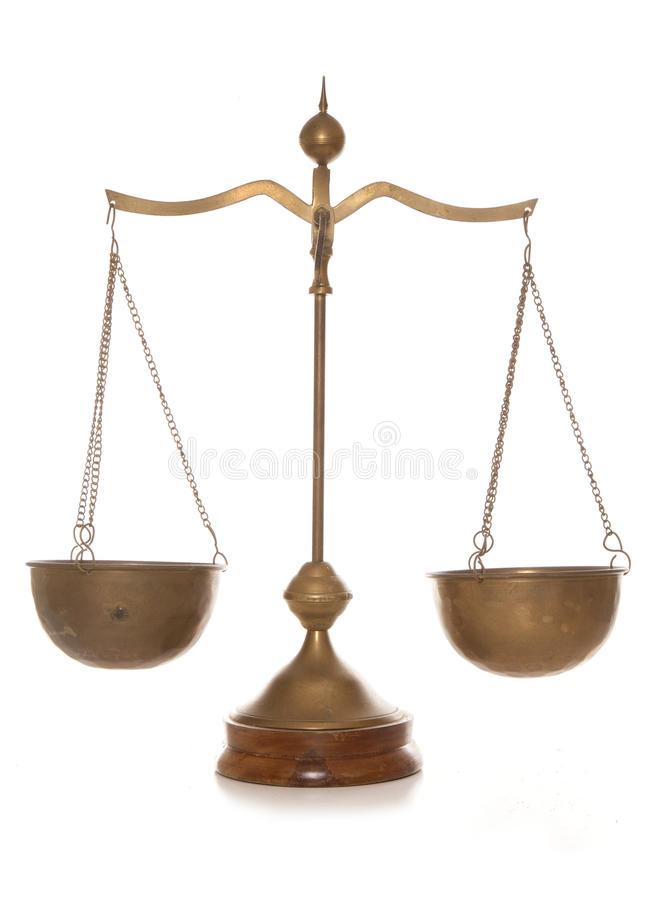 Vintage brass weighing scales. Studio cutout stock photos