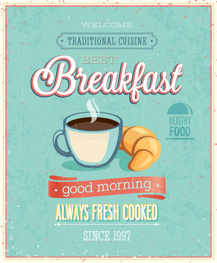 Vintage Breakfast Poster. stock illustration