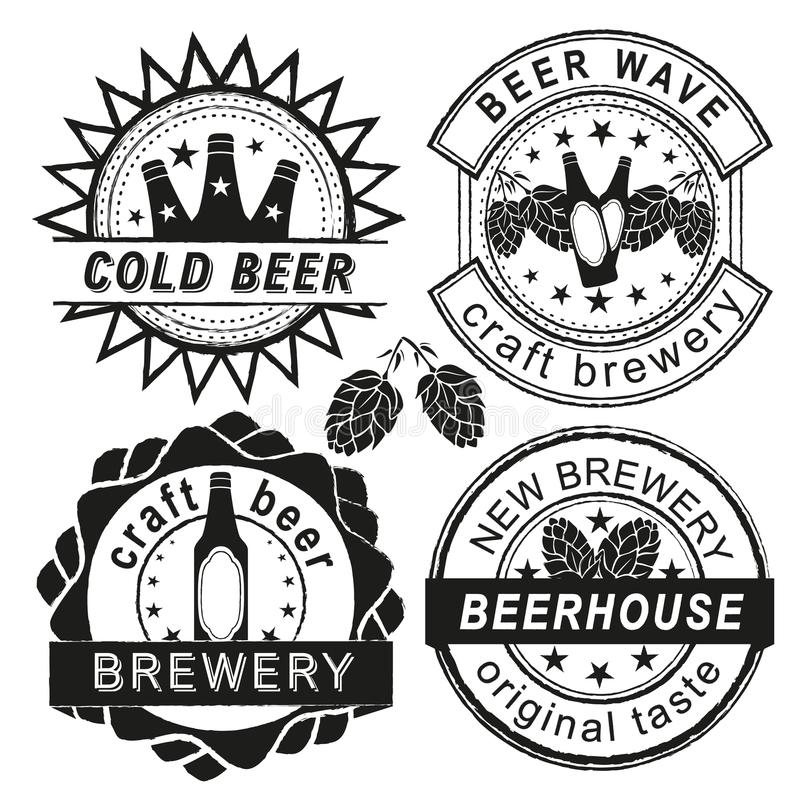 Vintage brewery logo, emblems and badges vector set. vector illustration