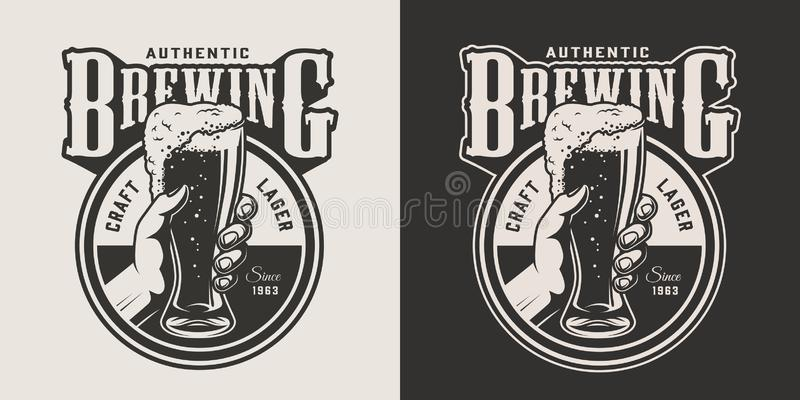 Vintage brewing monochrome round print stock illustration