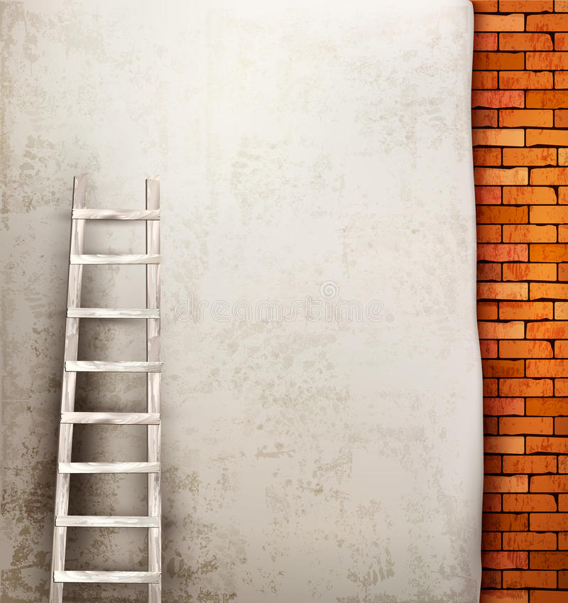 Vintage brick wall background with wooden ladder. royalty free illustration