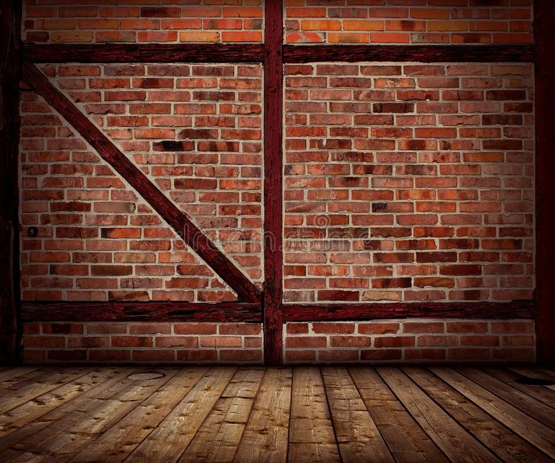 Vintage Brick Wall And Wood Floor Interior Stock Image Image Of