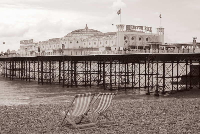 Vintage Brighton Beach, England stock photos