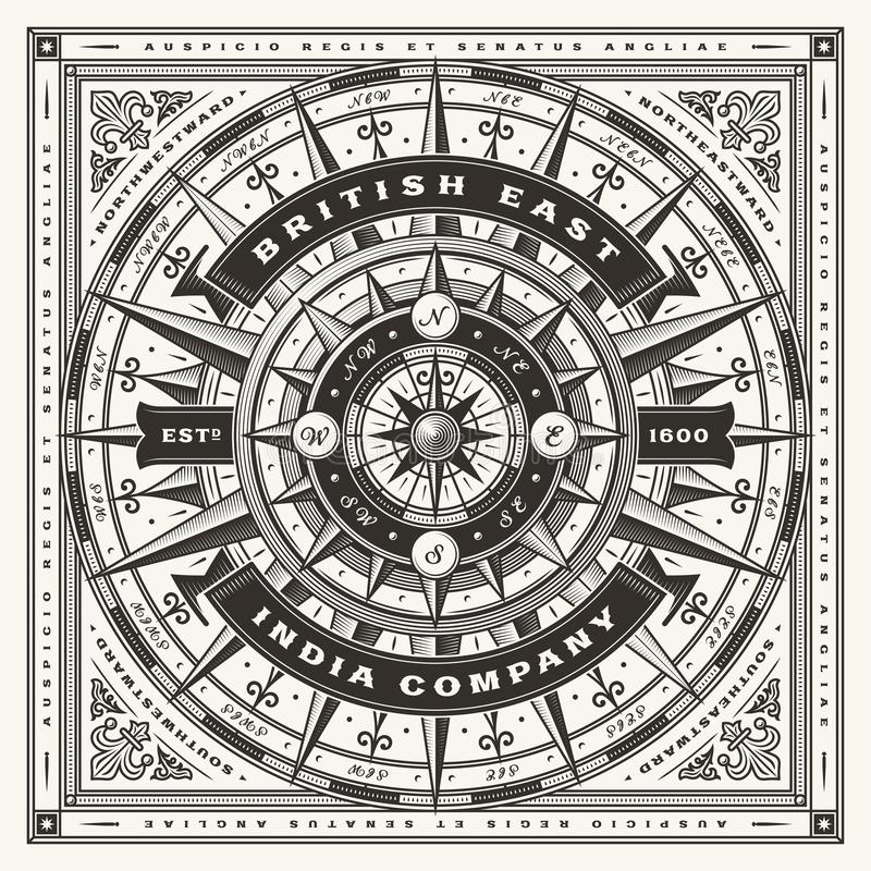 Vintage British East India Company Nautical Typography One Color. Vintage British East India Company nautical typography, t-shirt and label graphics with compass royalty free illustration