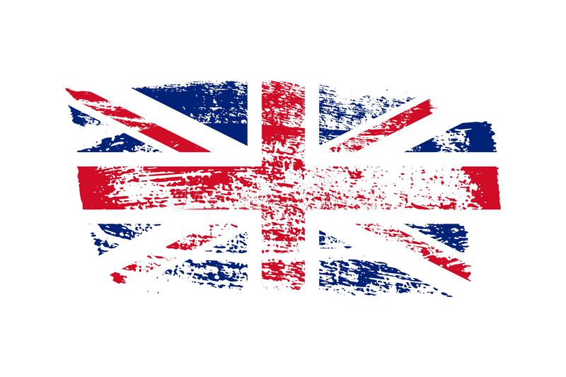 Vintage British flag illustration. Vector UK flag on grunge texture. vector illustration