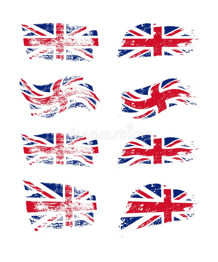 Vintage British flag set. Vector UK flags on grunge texture. stock illustration