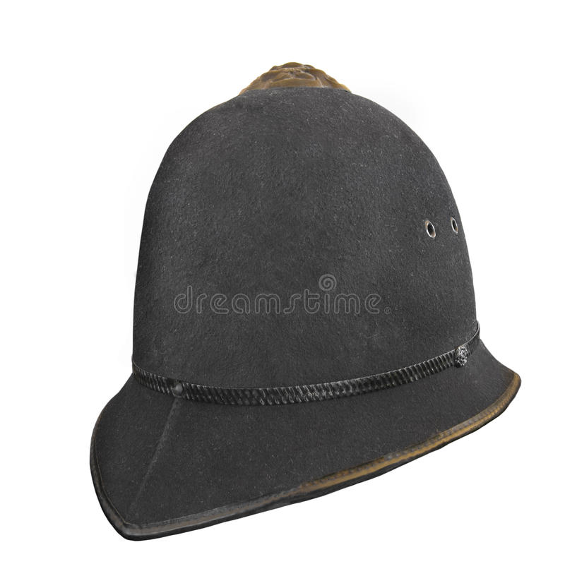 Vintage British Police Helmet Hat Isolated. Stock Photo