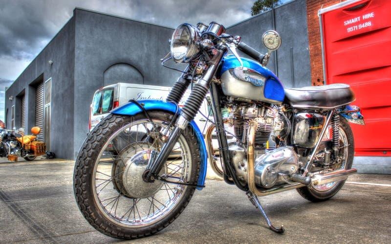 Vintage British Triumph motorbike stock photos