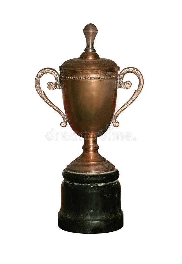 Vintage bronze cup with path royalty free stock photography