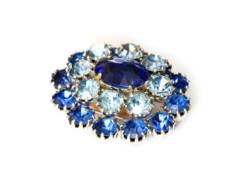 Vintage brooch. Beautiful vintage brooch isolated on white royalty free stock image
