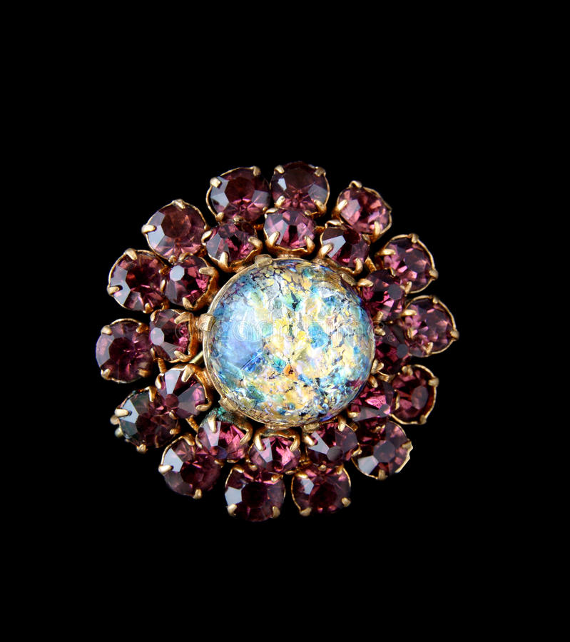 Vintage brooch. Isolated on black back royalty free stock images