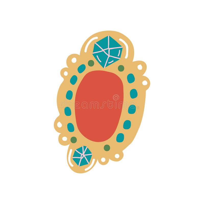 Vintage Brooch Pendant with Gemstones Jewelry Accessory Vector Illustration stock illustration