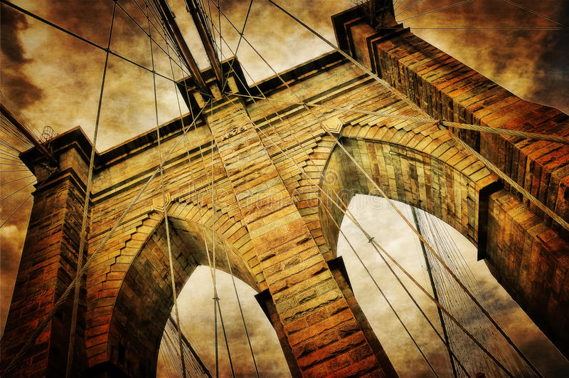 Vintage Brooklyn Bridge. View of the Brooklyn Bridge in New York which is a National Historic Landmark stock photo
