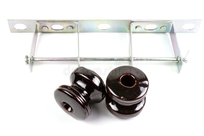 Brown Ceramic Wire Insulator  Stock Photo - Image of generator