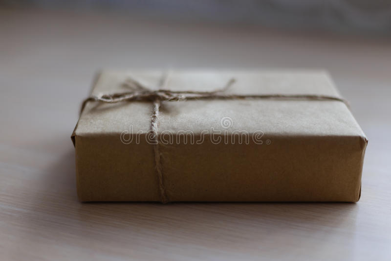 Download Vintage Brown Gift Box On Wooden Background -  Filter Processing Stock Photo - Image: 83709880