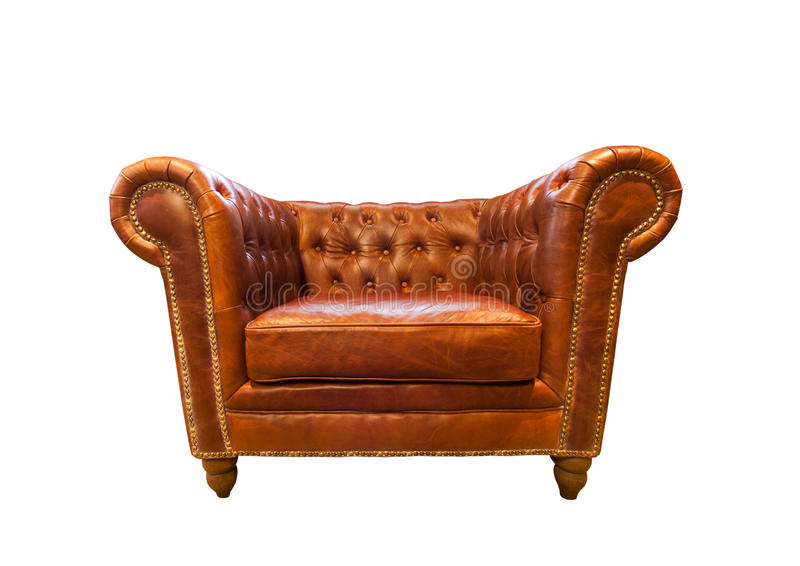 Vintage brown leather armchair royalty free stock photo