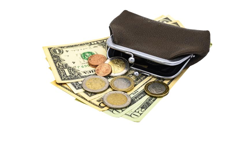 Vintage brown leather wallet with metal clasp with dollar bills and Euro coins. Isolate on a white background.  stock photo