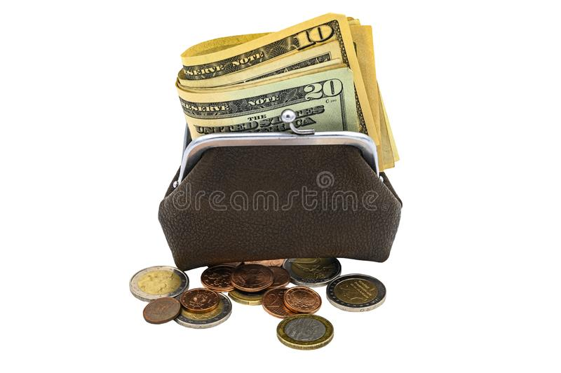 Vintage brown leather wallet with metal clasp with dollar bills and Euro coins. Isolate on a white background.  royalty free stock images