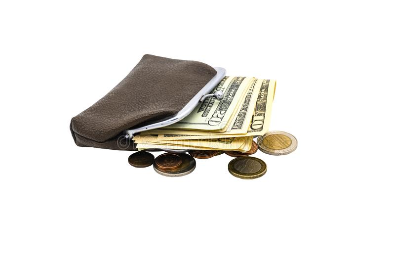 Vintage brown leather wallet with metal clasp with dollar bills and Euro coins. Isolate on a white background.  royalty free stock photography