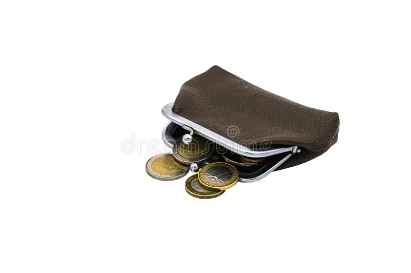 Vintage brown leather wallet with metal clasp with Euro coins. Isolate on a white background.  royalty free stock photo