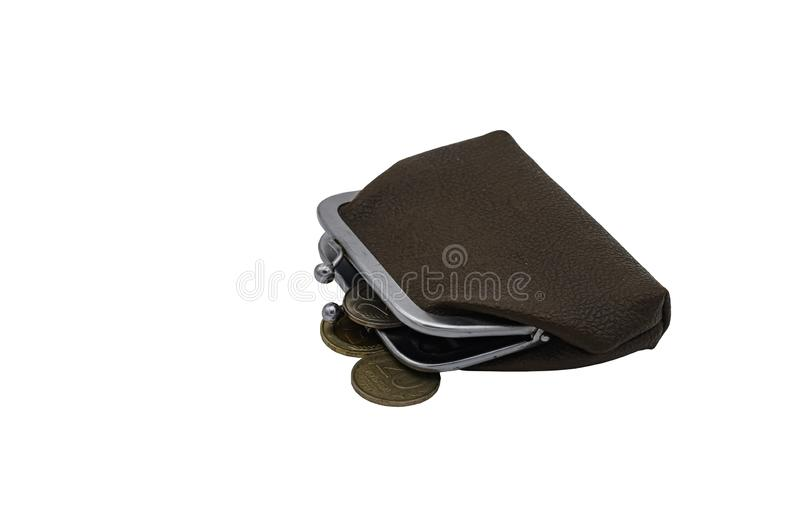Vintage brown leather wallet with metal clasp with old coins. Isolate on a white background.  royalty free stock photos