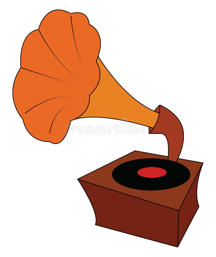 Vintage brown and orange gramophone with black vinyl record vector illustration. On white background royalty free illustration