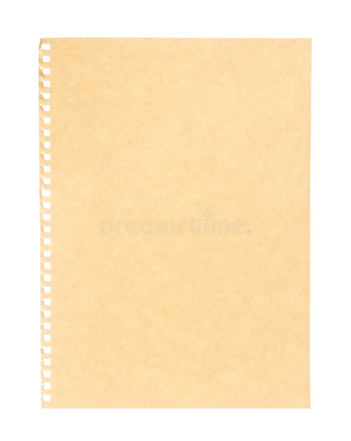 Vintage brown paper isolated on white stock image