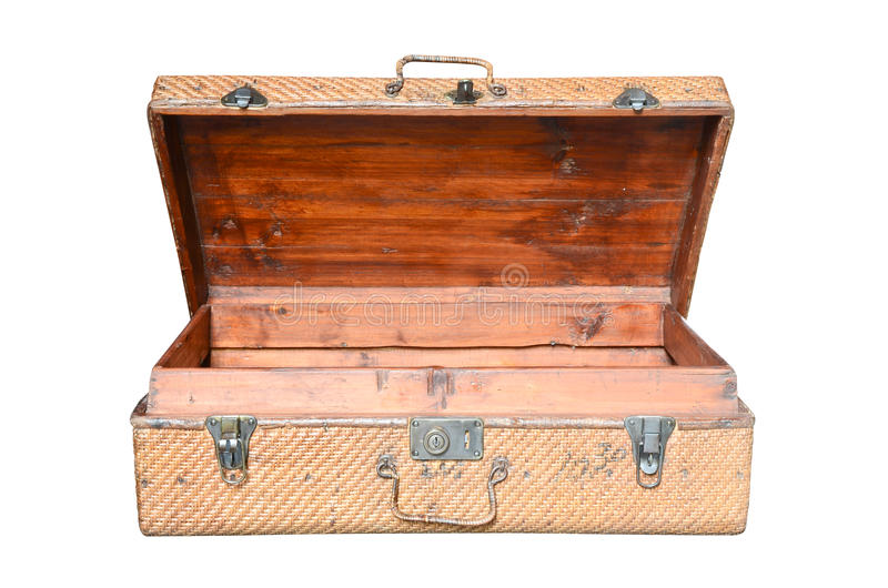Download Vintage Brown Wood Suitcase Isolated Stock Image - Image: 25027045