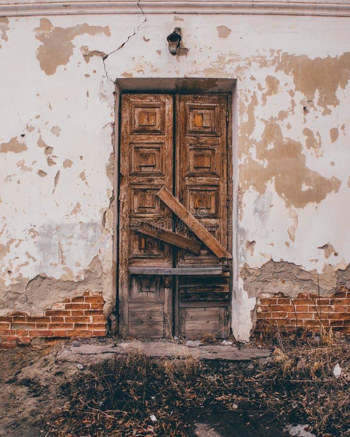 Vintage Brown Wooden Door stock photos