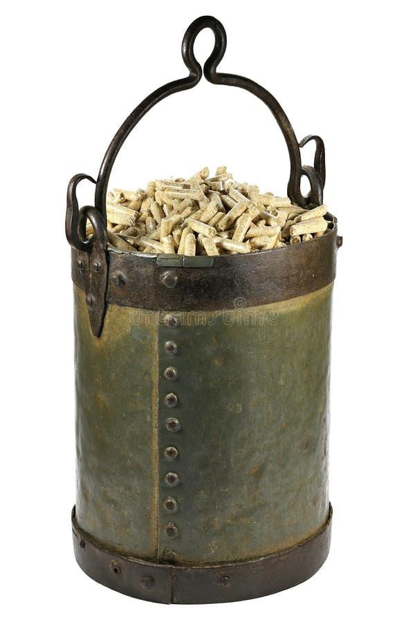 Wood pellets stock image