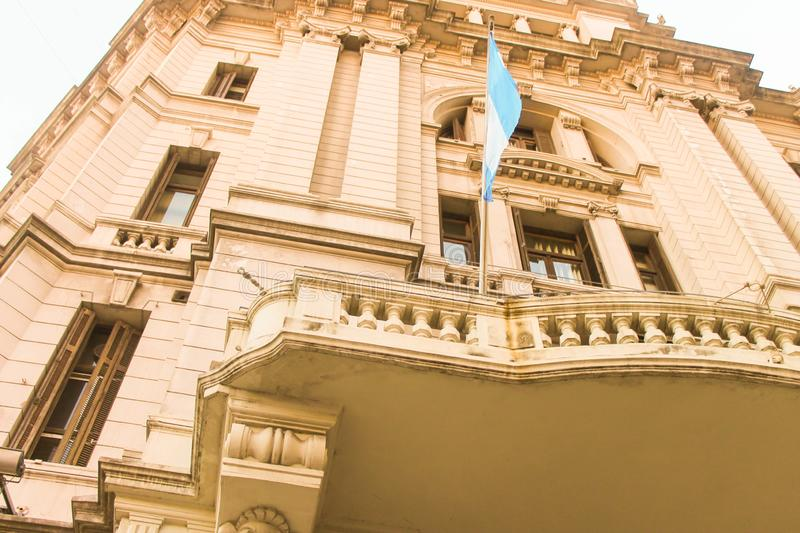 Vintage Building Argentina Flag Capital Federal. Argentina Argentine Exterior Independence royalty free stock images