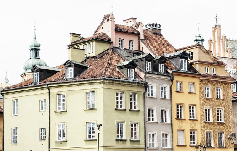 Vintage buildings in Old Town of Warsaw. stock photography