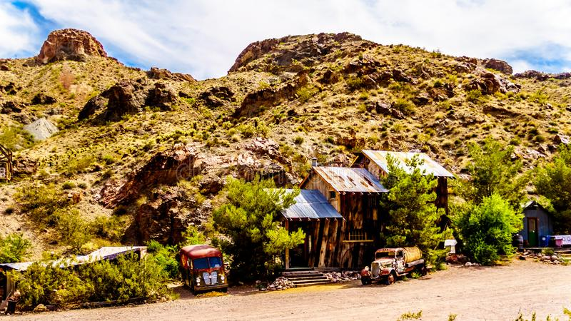 Vintage buildings and vehicles in the old mining town of El Dorado in the Eldorado Canyon in NV. Vintage buildings and vehicles used in old movies are still on royalty free stock photography