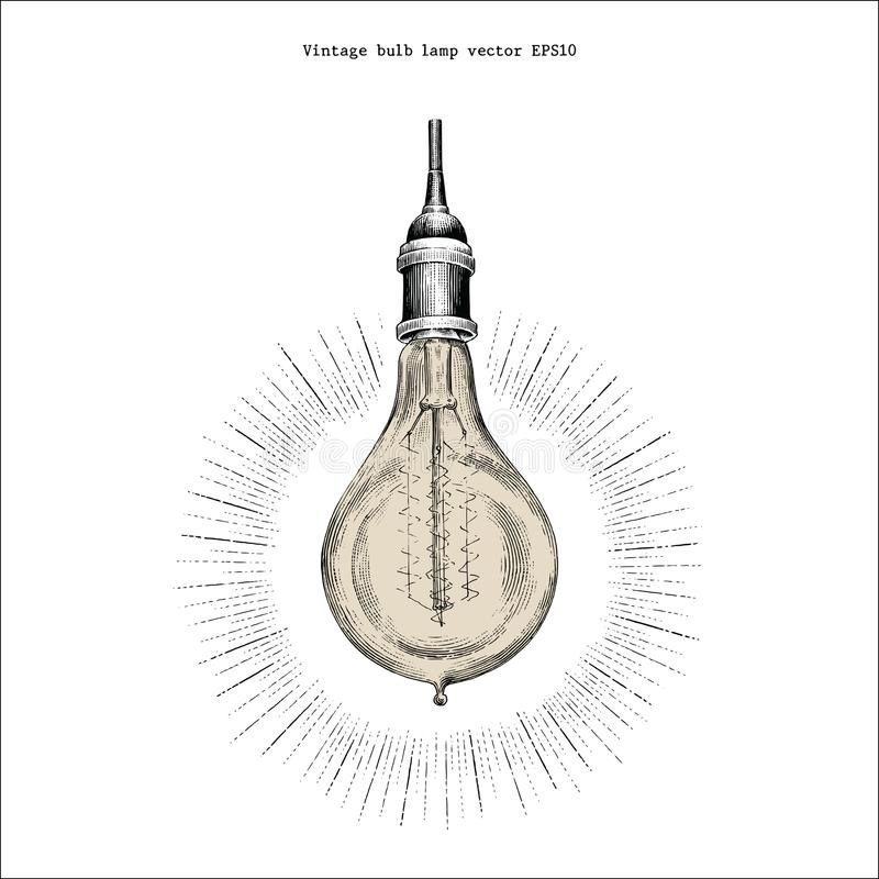 Vintage bulb lamp hand drawing engraving style vector illustration
