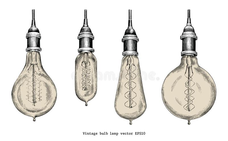 Vintage bulb lamp hand drawing engraving style. Isolated on white background royalty free illustration