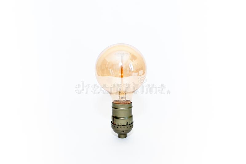 Vintage bulb lamp isolated on white stock images