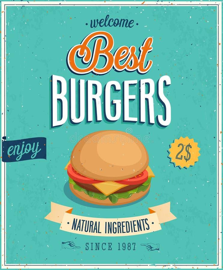 Vintage Burgers Poster. stock illustration