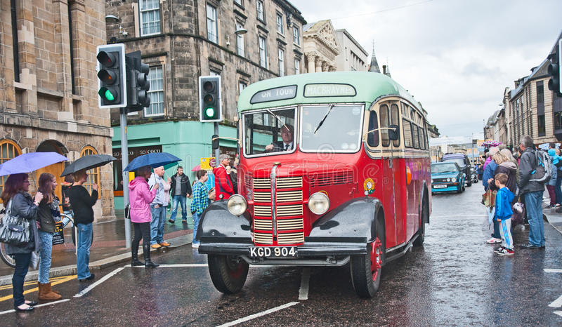 Vintage bus in High Street, Inverness royalty free stock images