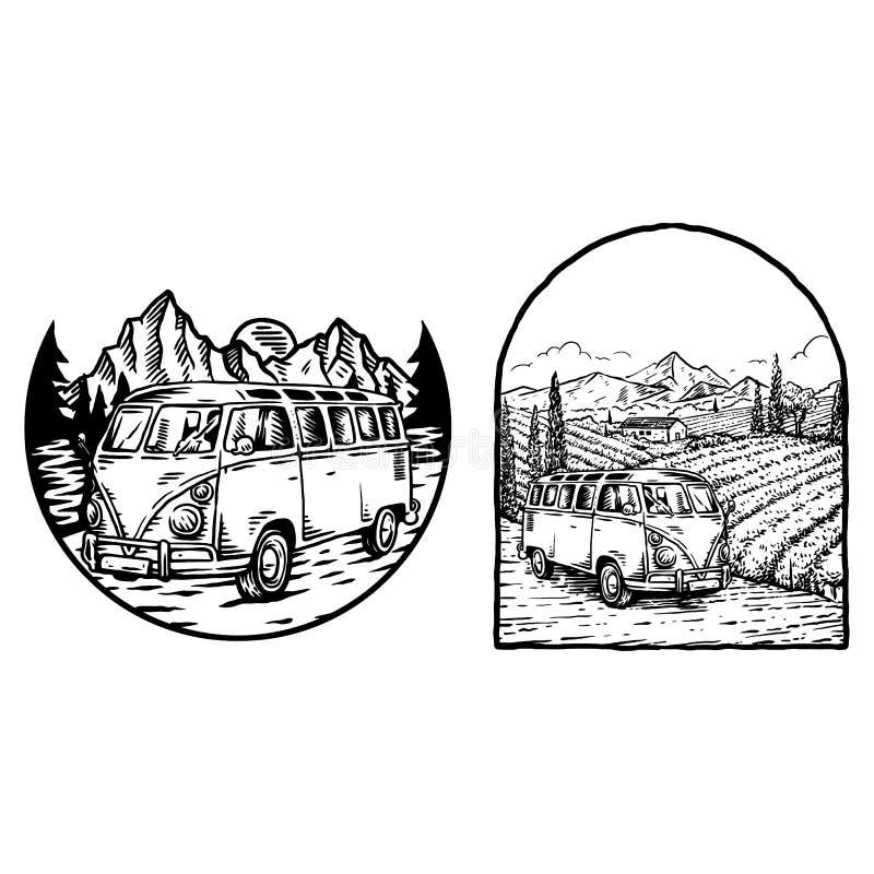 Vintage Bus Outdoor Abenteuer, Handgezeichnete Linie Art Vektor Illustration vektor abbildung